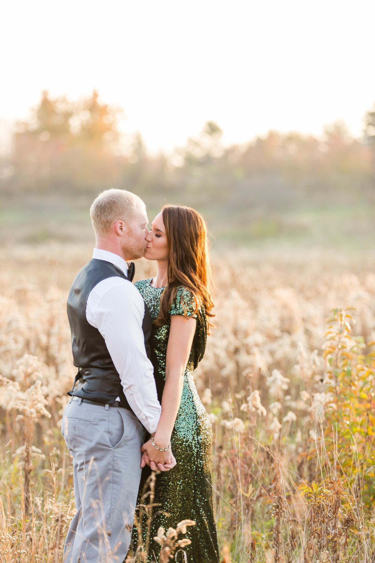 photographer akron ohio, sequin green dress engagement photos