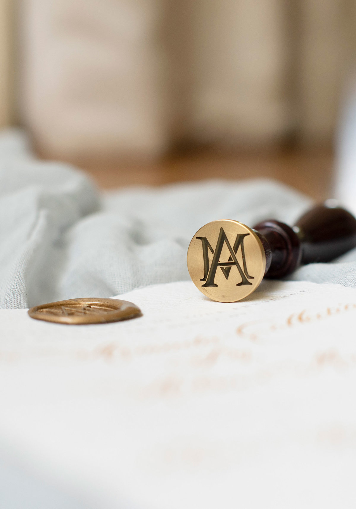 Branded wedding business stationery with gold wax seal with bespoke monogram