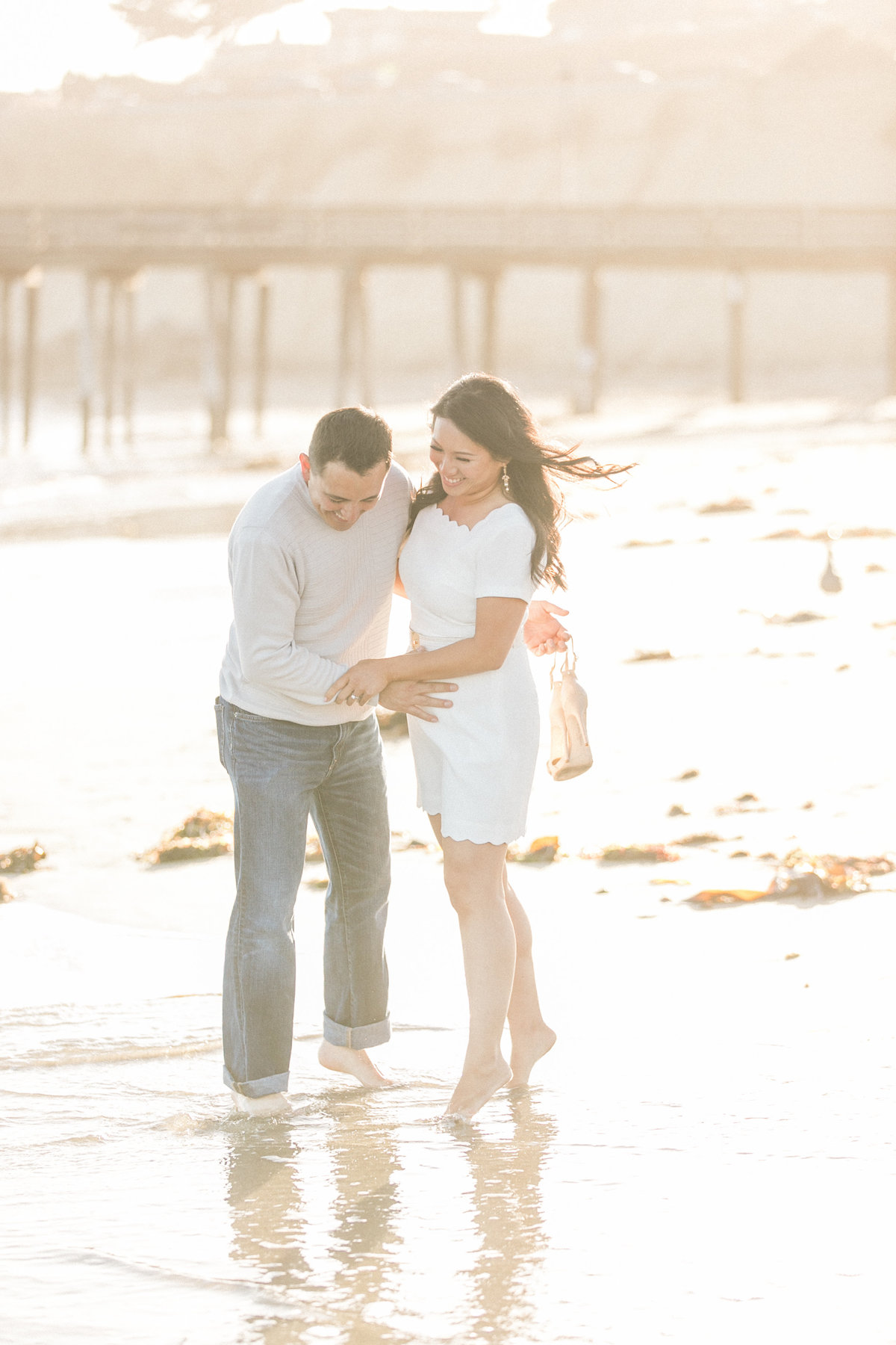 Candid Romantic Beach Engagement Photos