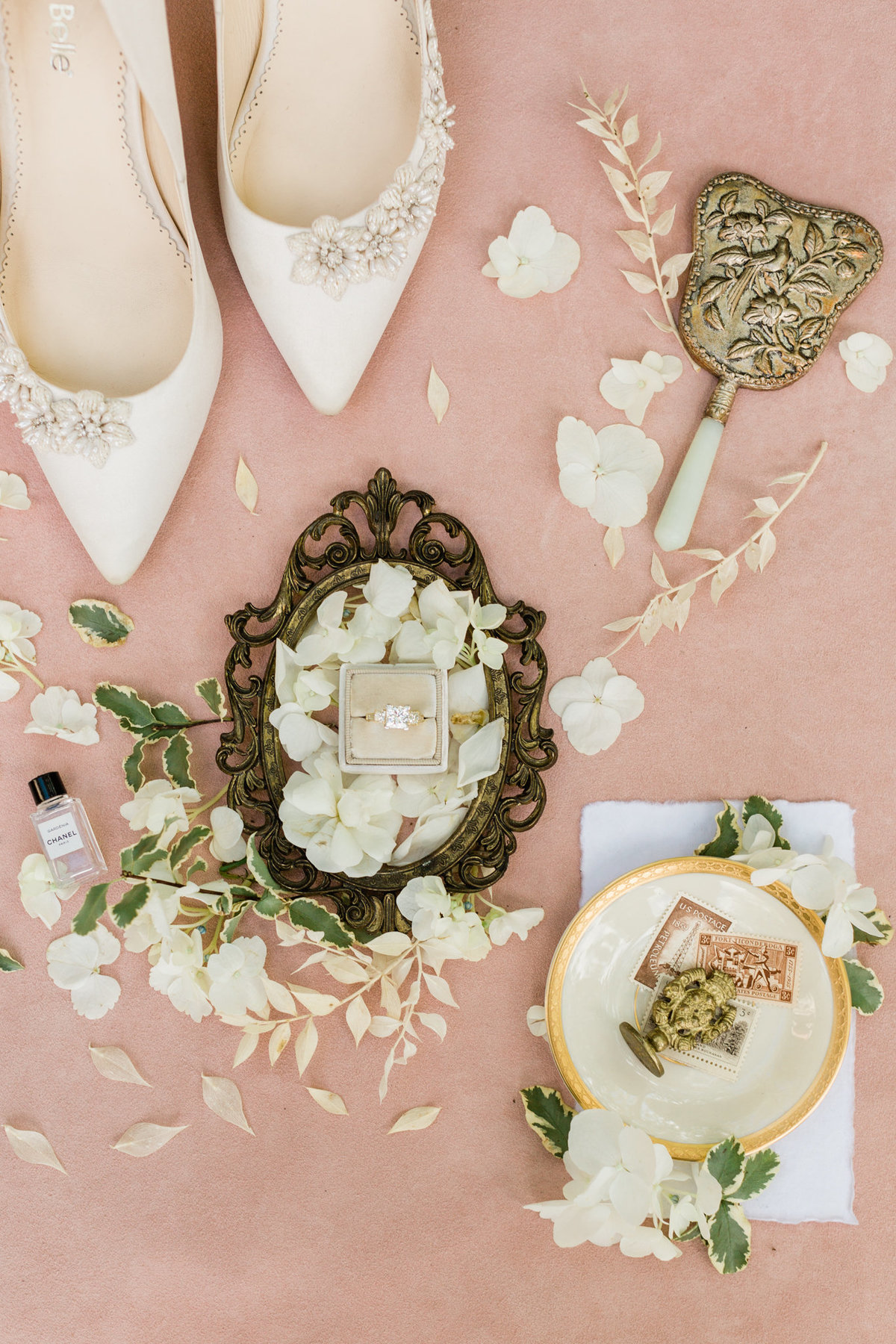 blush and white wedding details