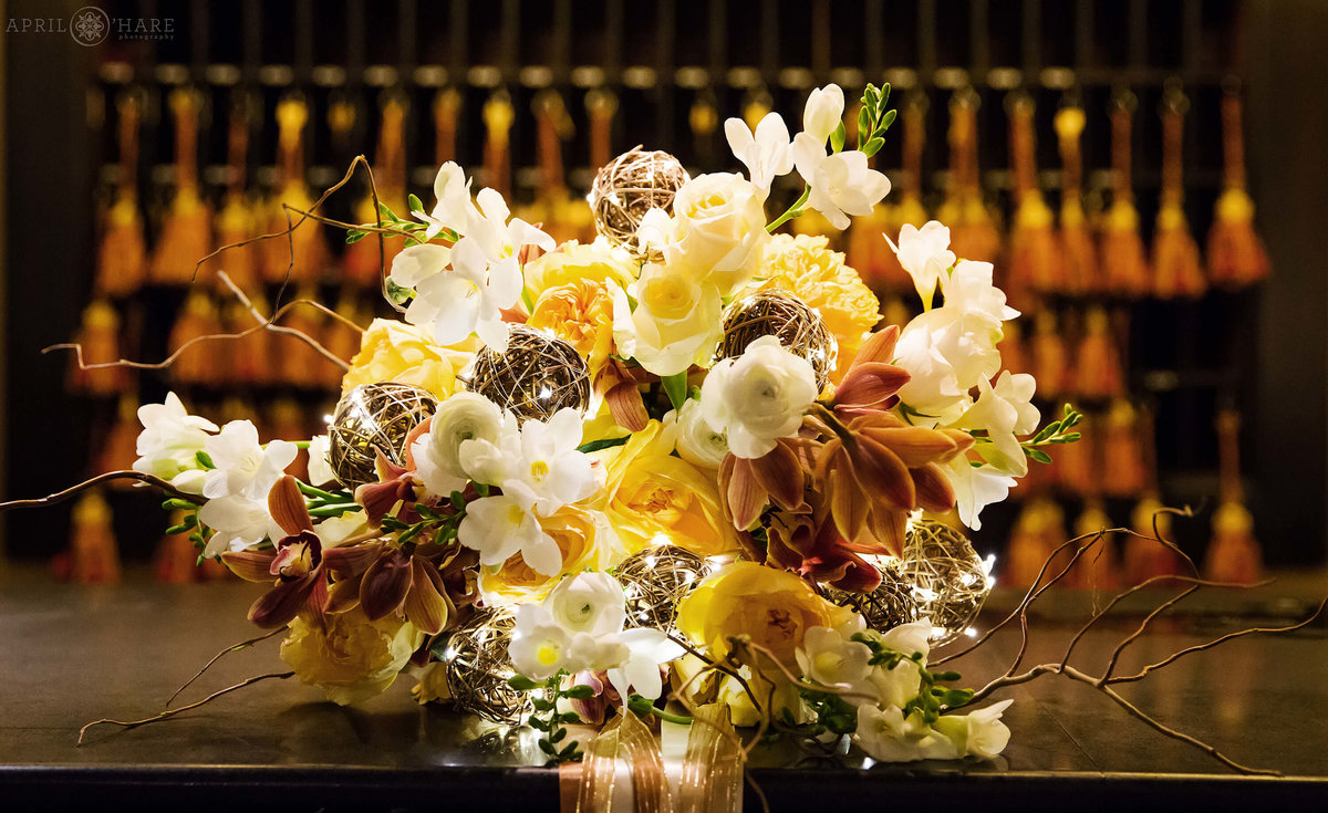 Glowing bridal bouquet at the Oxford Hotel for a styled shoot in Colorado
