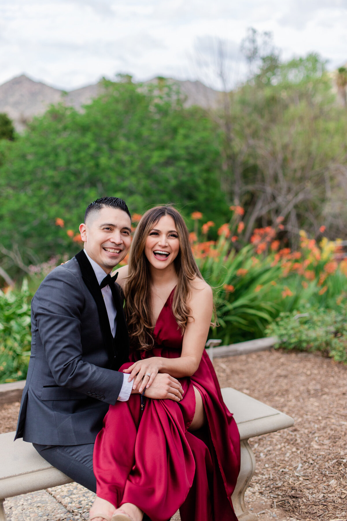 UC Riverside Botanical Gardens, Engagement Photography, Riverside Phototgrapher, Garden Engagement, Couple Photography, Red Dress-76