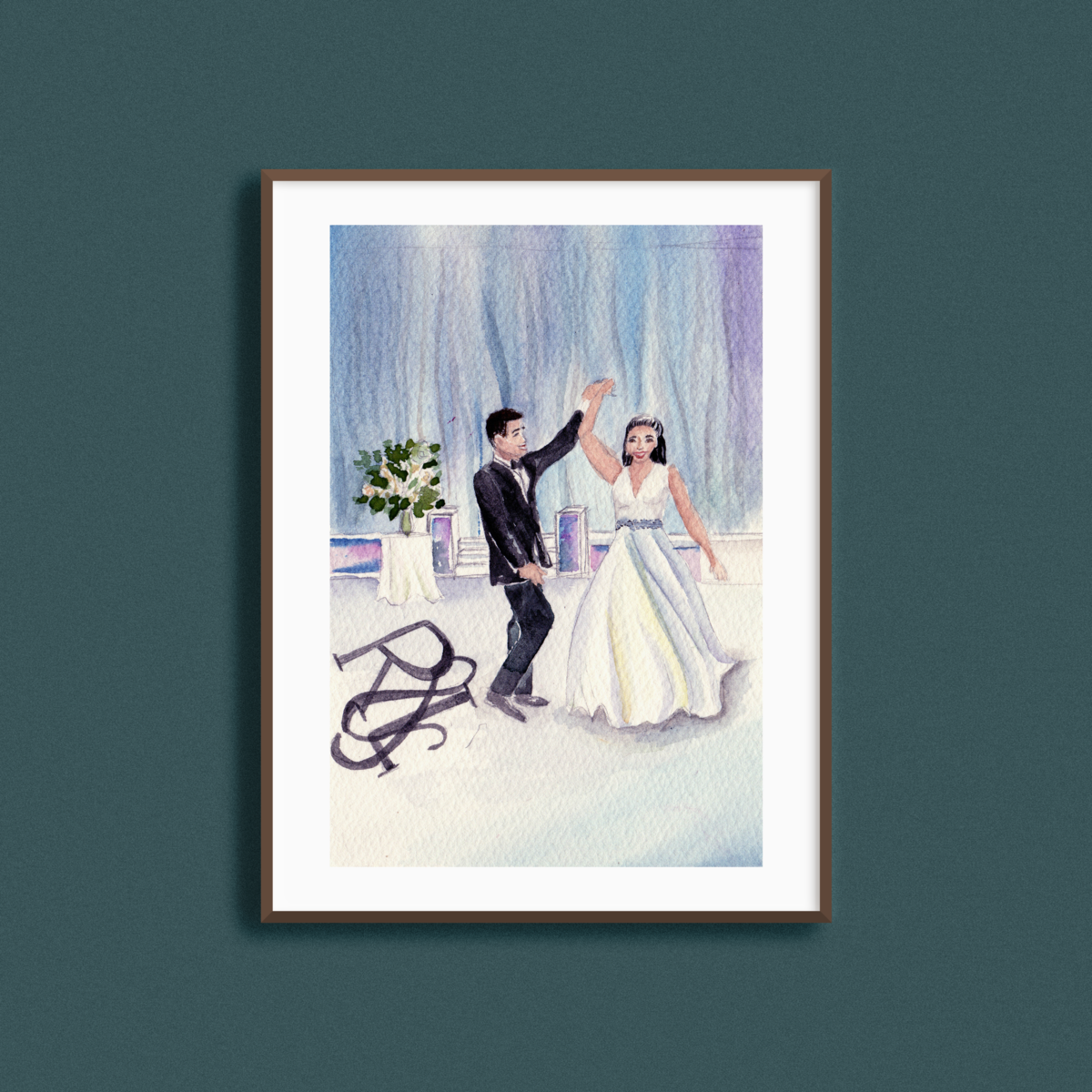 Watercolor First Dance Painting