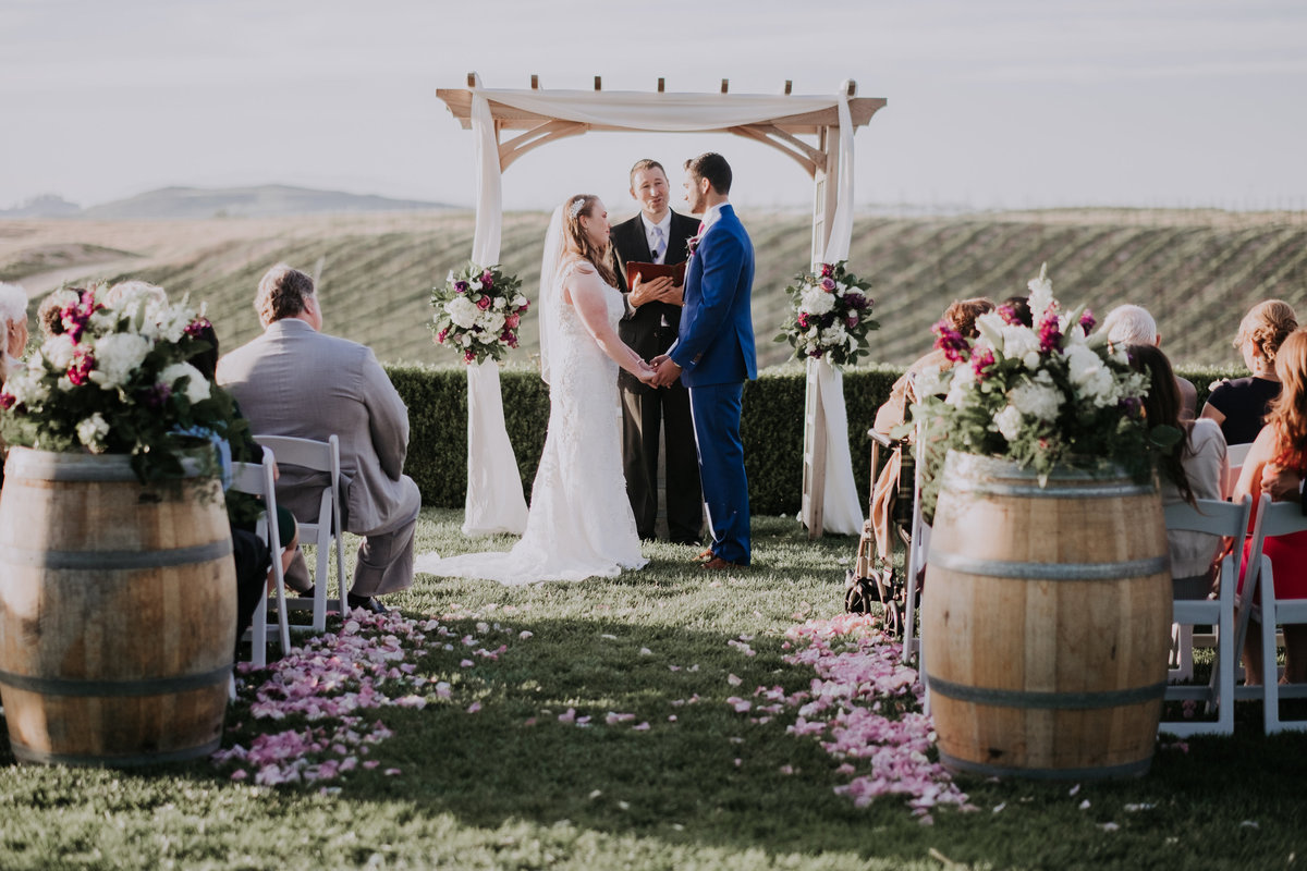 Temecula wedding photographers couple gets married overlooking vineyard