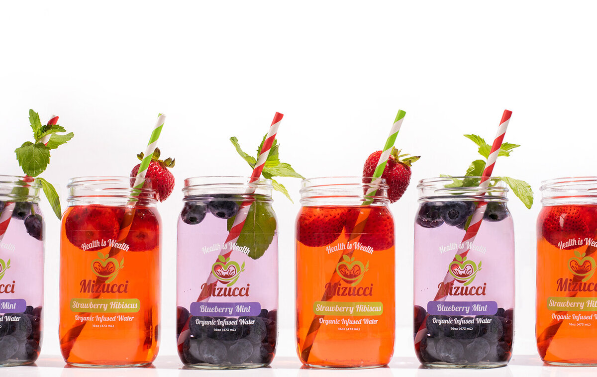 mizucci infused water two flavors product photography