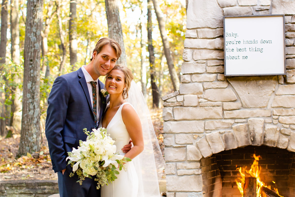 Romantic Fall Elopement  bride and groom by fireplace at Greensfelder County Park  in St. Louis  by Amy Britton Photography Photographer in St. Louis