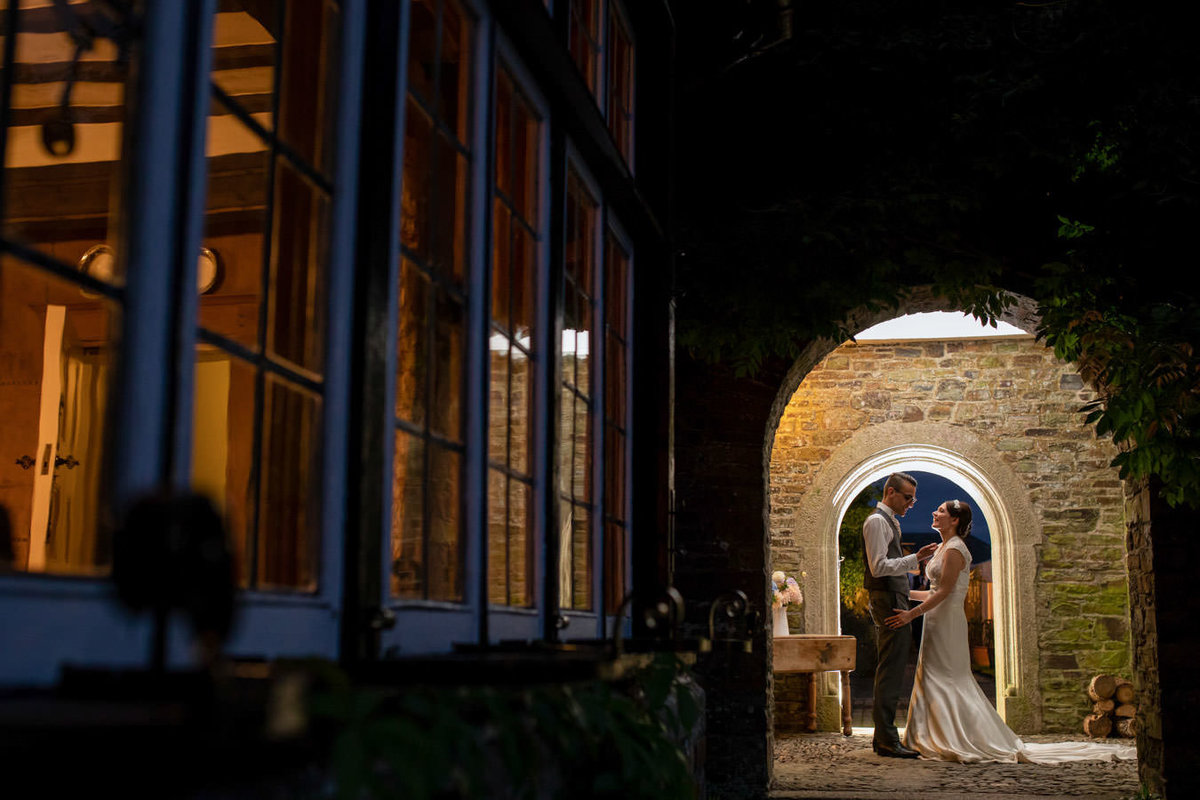 Night time wedding photo at Coombe Trenchard Devon