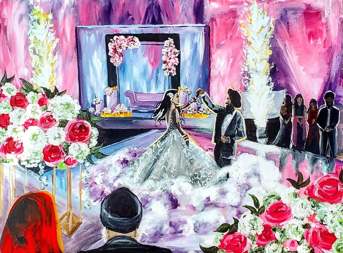 Live painting of a Sikh bride and groom sharing their first dance at the Lansdowne Resort in Leesburg Virginia