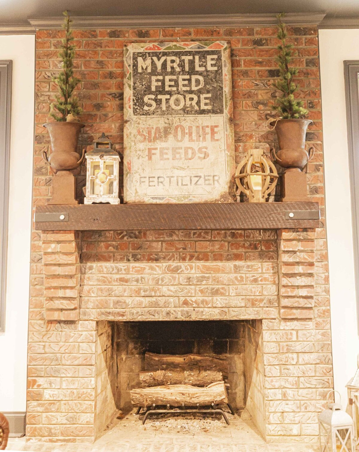 farm-inspired-mantle-decor-brick-fireplace1