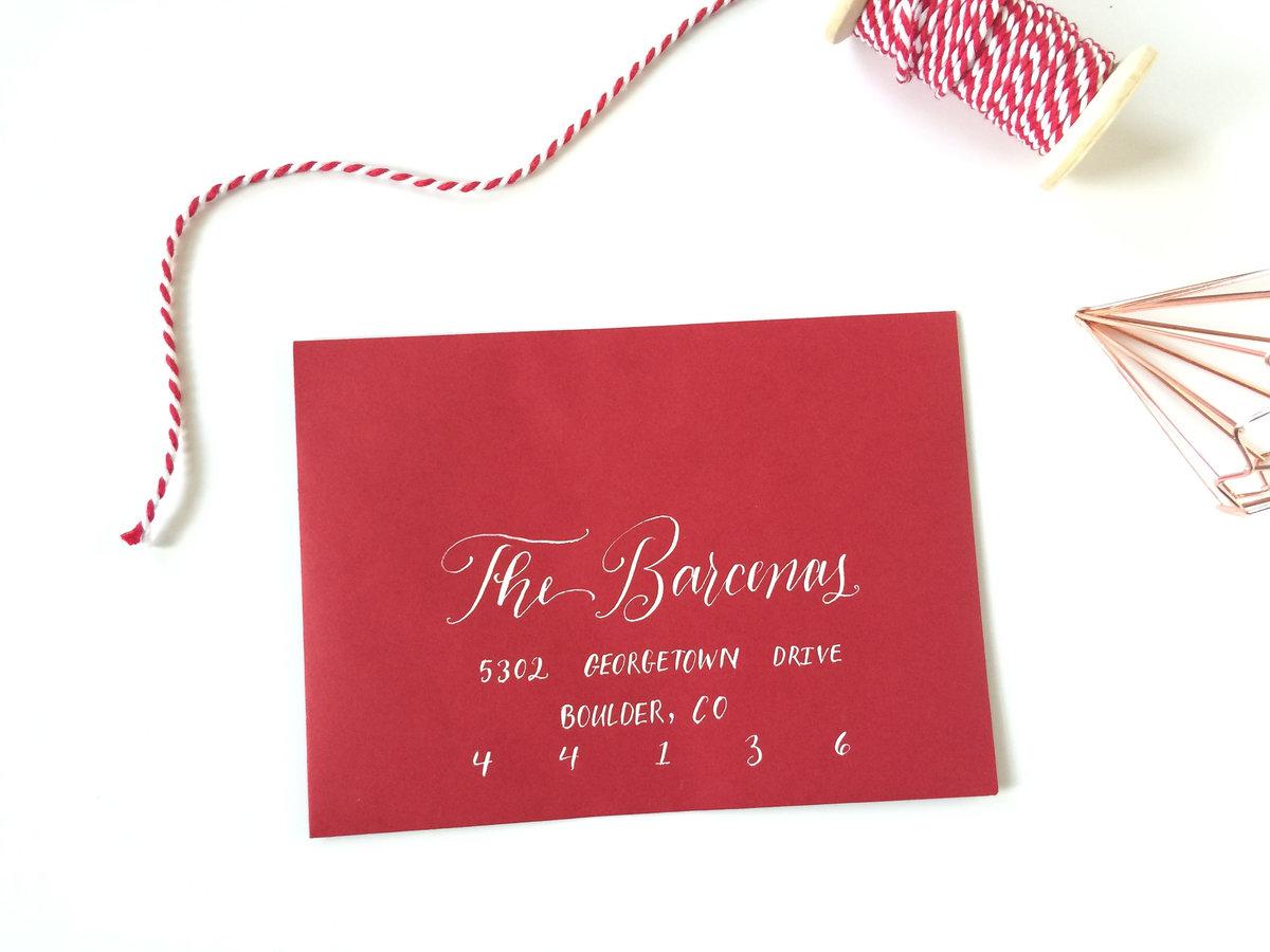 christmas card envelope calligraphy