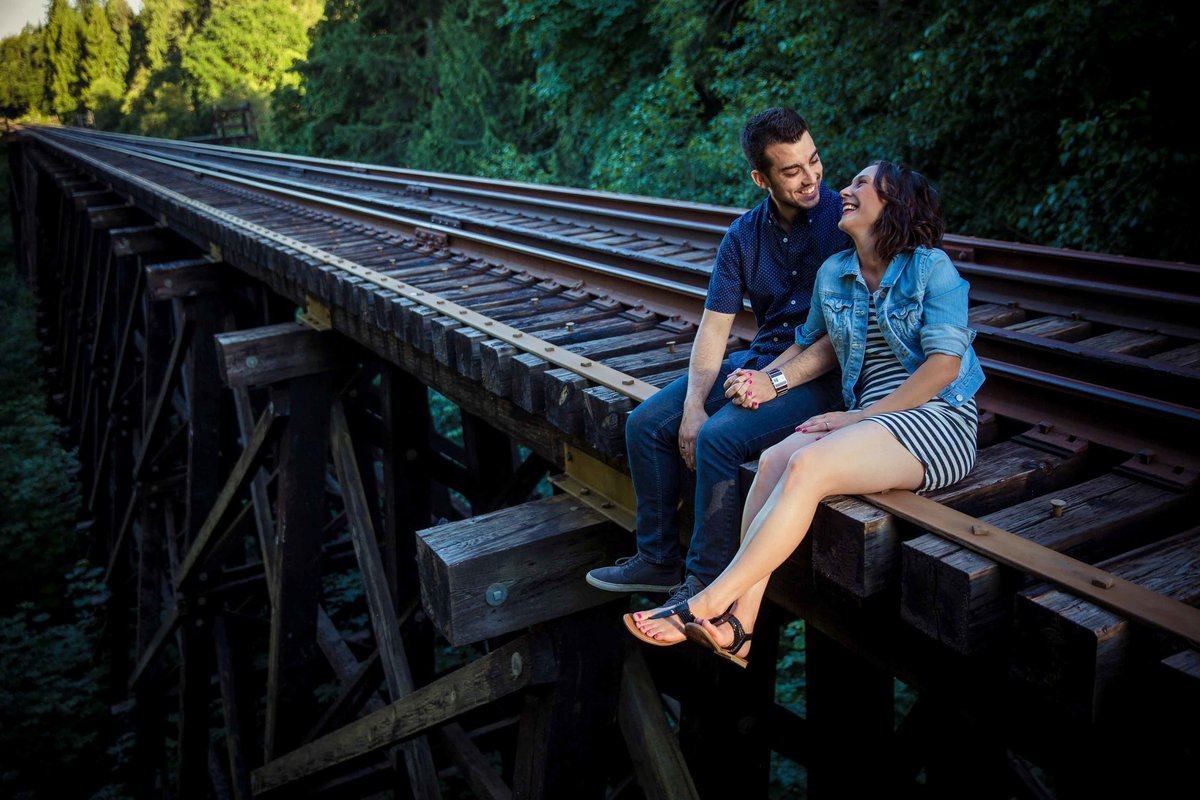 Qualicum engagement session on trestle in Parksville