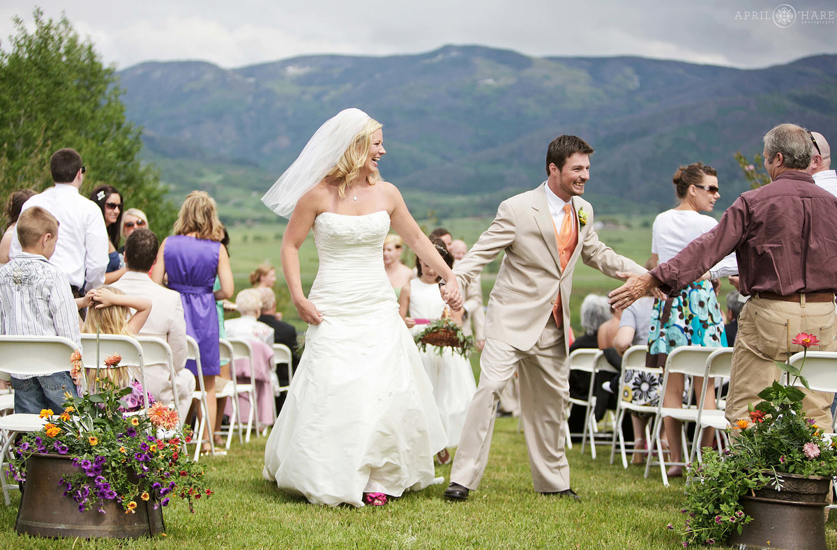 High five after Steamboat Springs Wedding Ceremony in Colorado