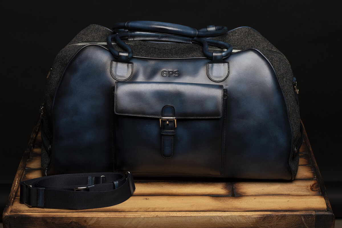 gps-blue-leather-duffel-bag-grey-nailhead-with-strap