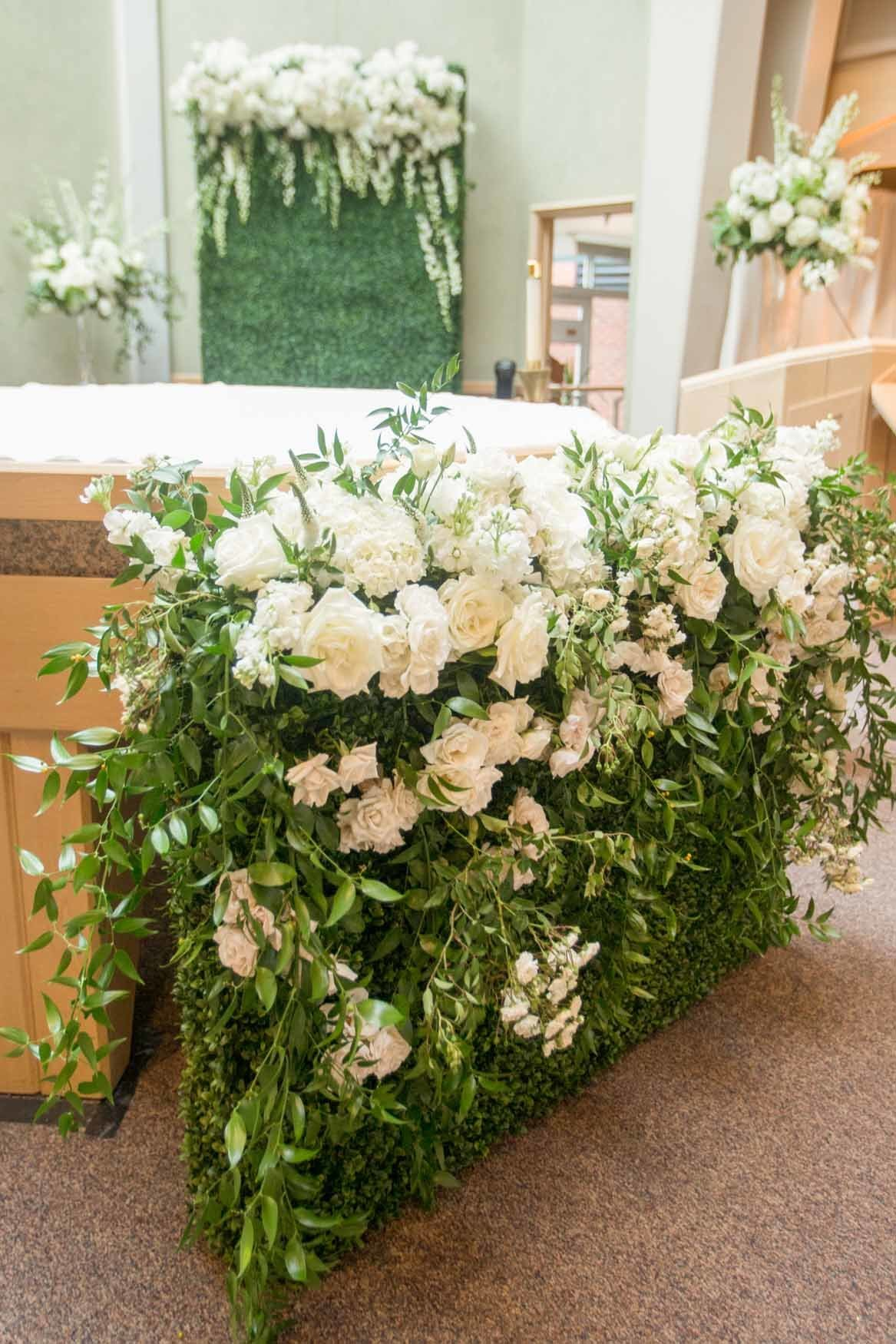 Wedding ceremony Church alter flowers