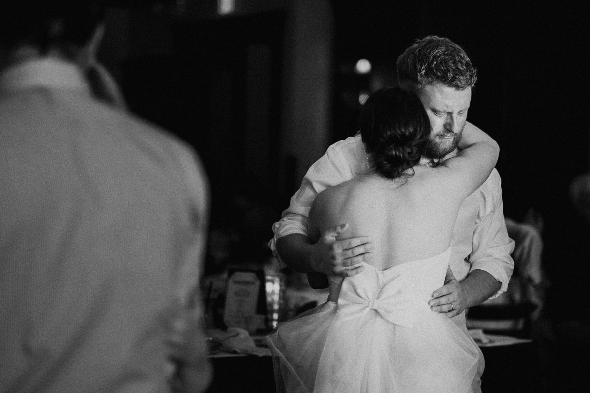 Lake Tahoe wedding photos groom cries during first dance