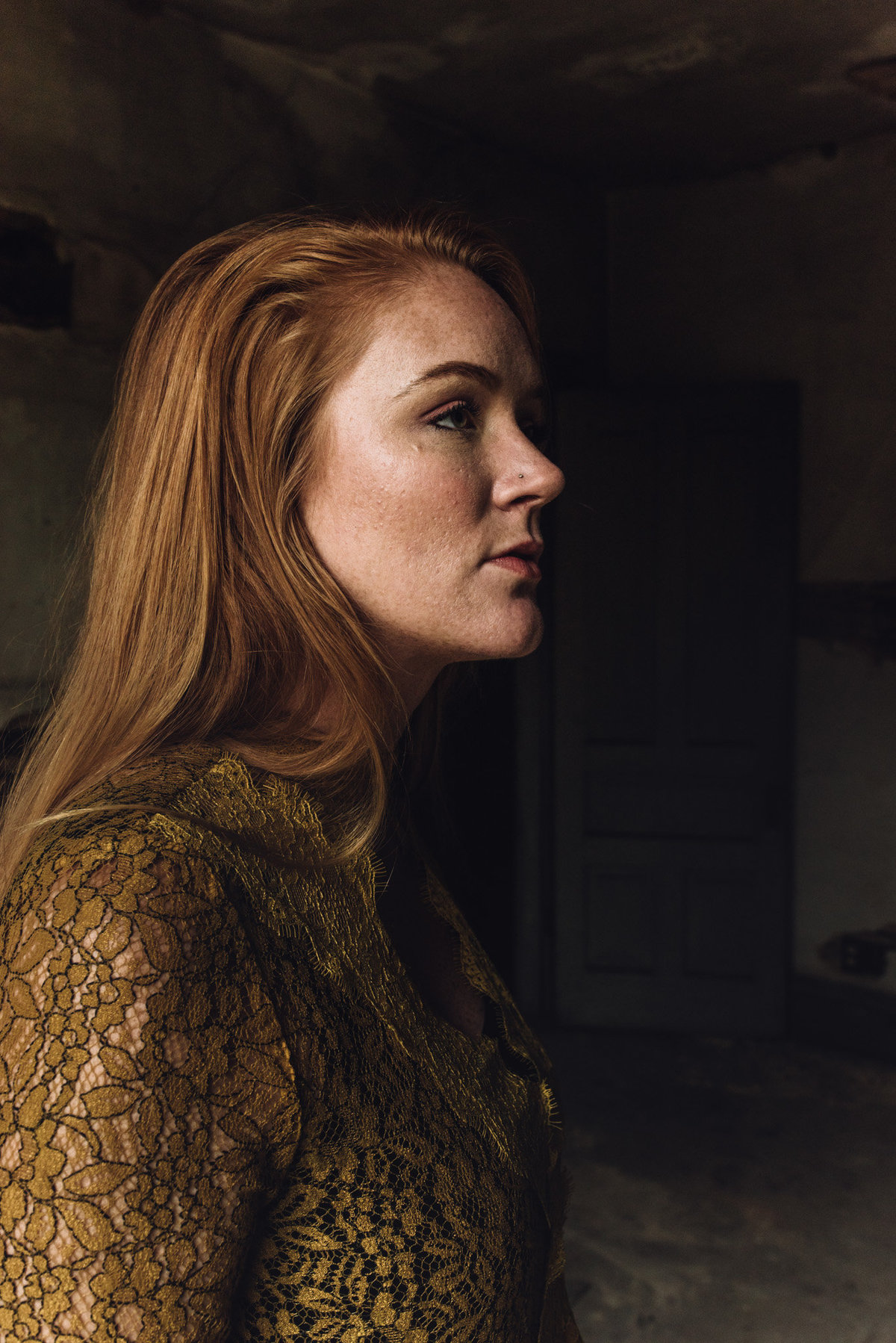 red headed woman in profile