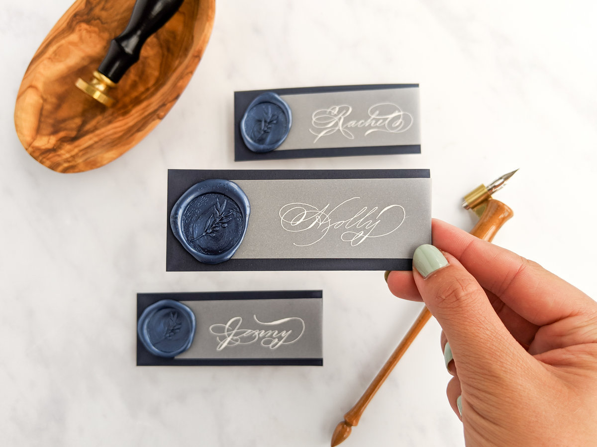 Navy and white wax seal place cards | Jenni Liandu Calligraphy