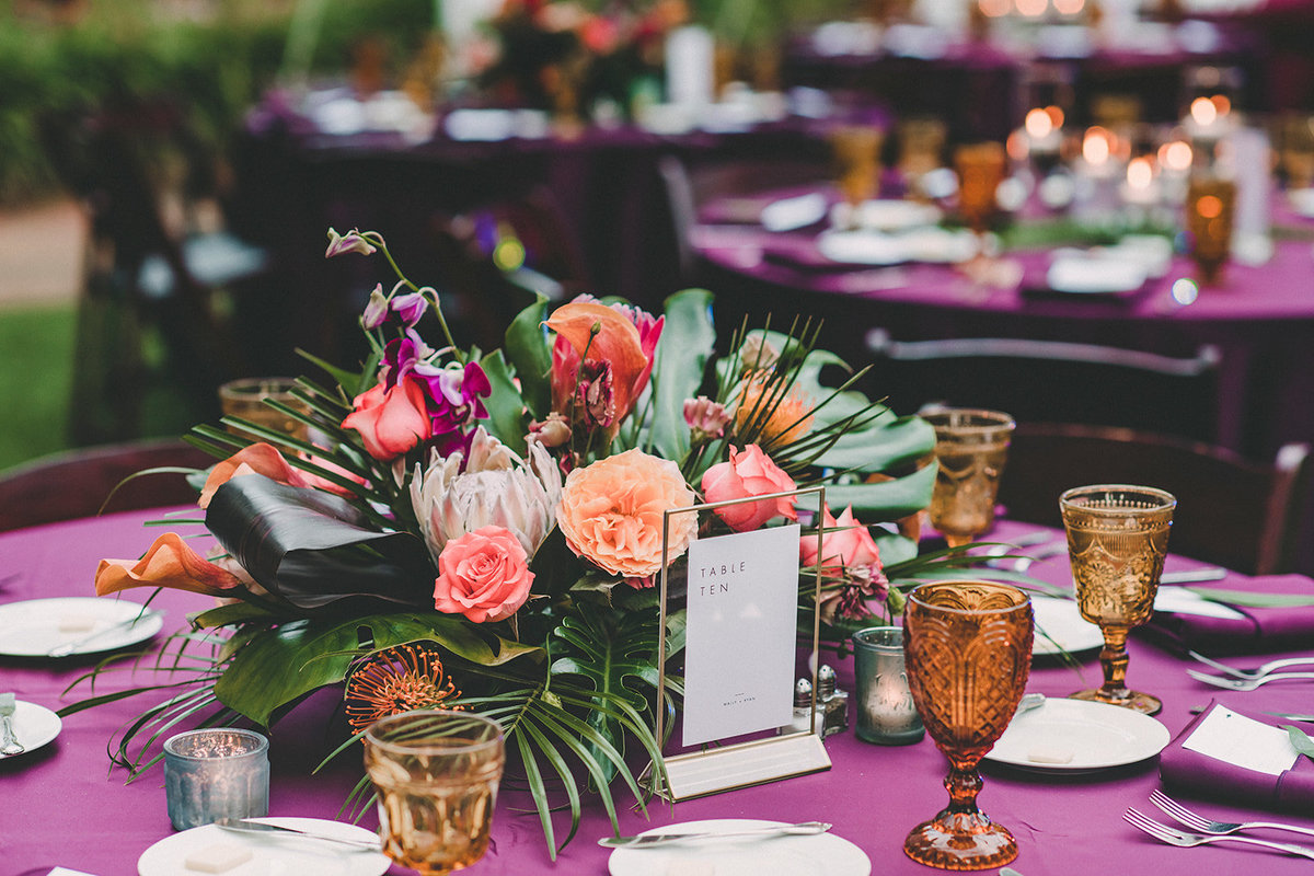tropical floral centerpiece garden wedding