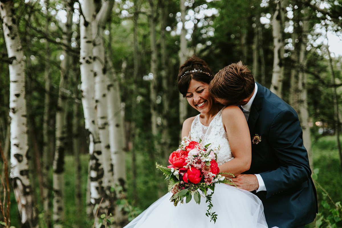 couple has backyard wedding in Nederland Colorado