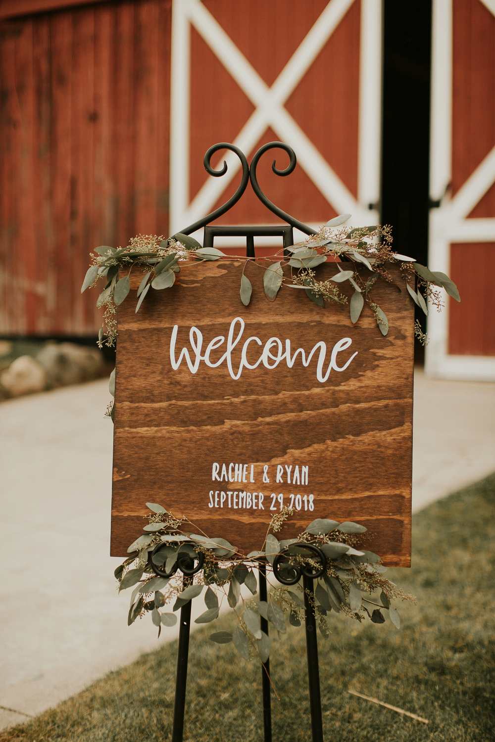 Rustic Farm Wedding Reception Welcome Sign