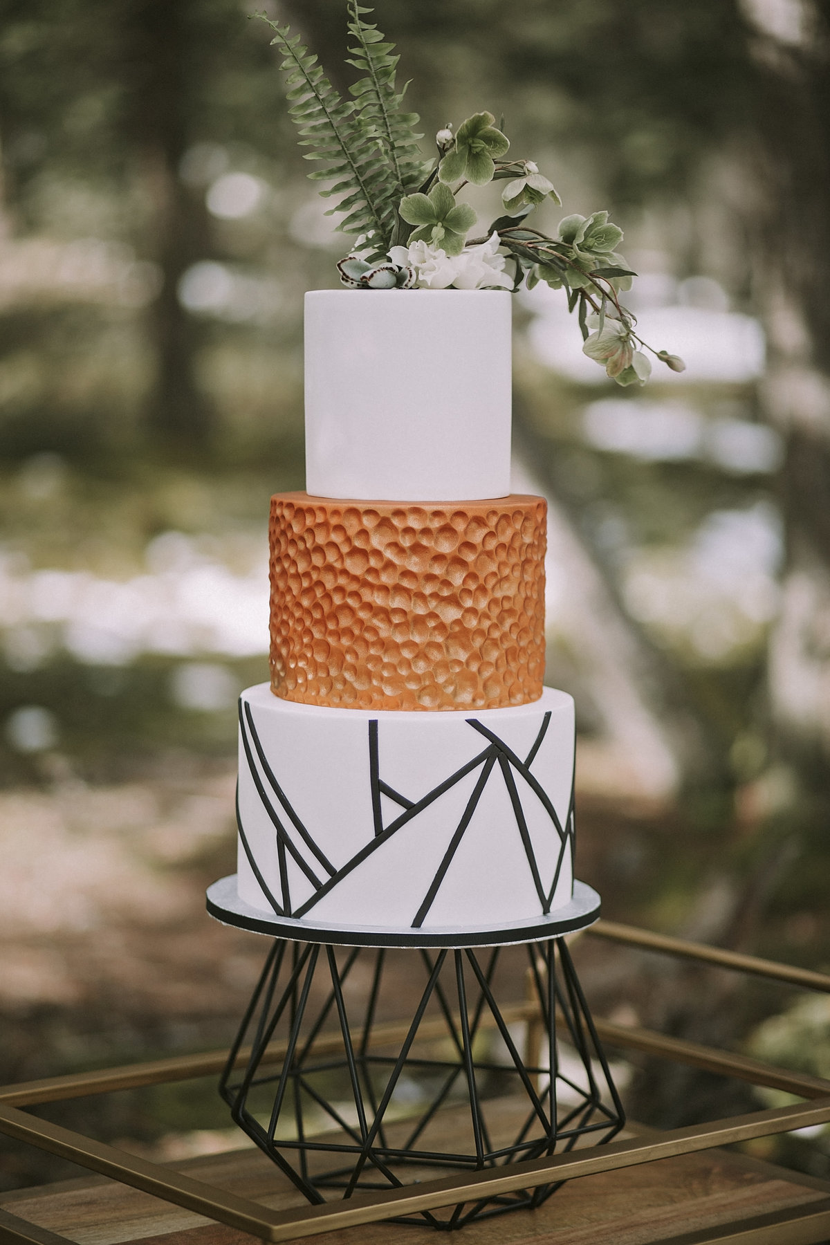 Woodsy, floral, luxurious Banff Wedding Cake