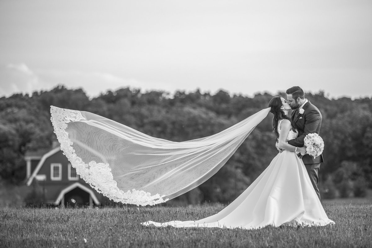 Bride has a big veil blowing in the wind