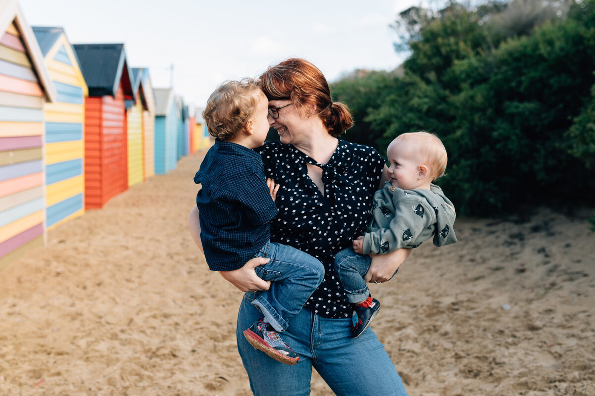 Mum holding children at beach Melbourne family photography And So I Don't Forget Photography