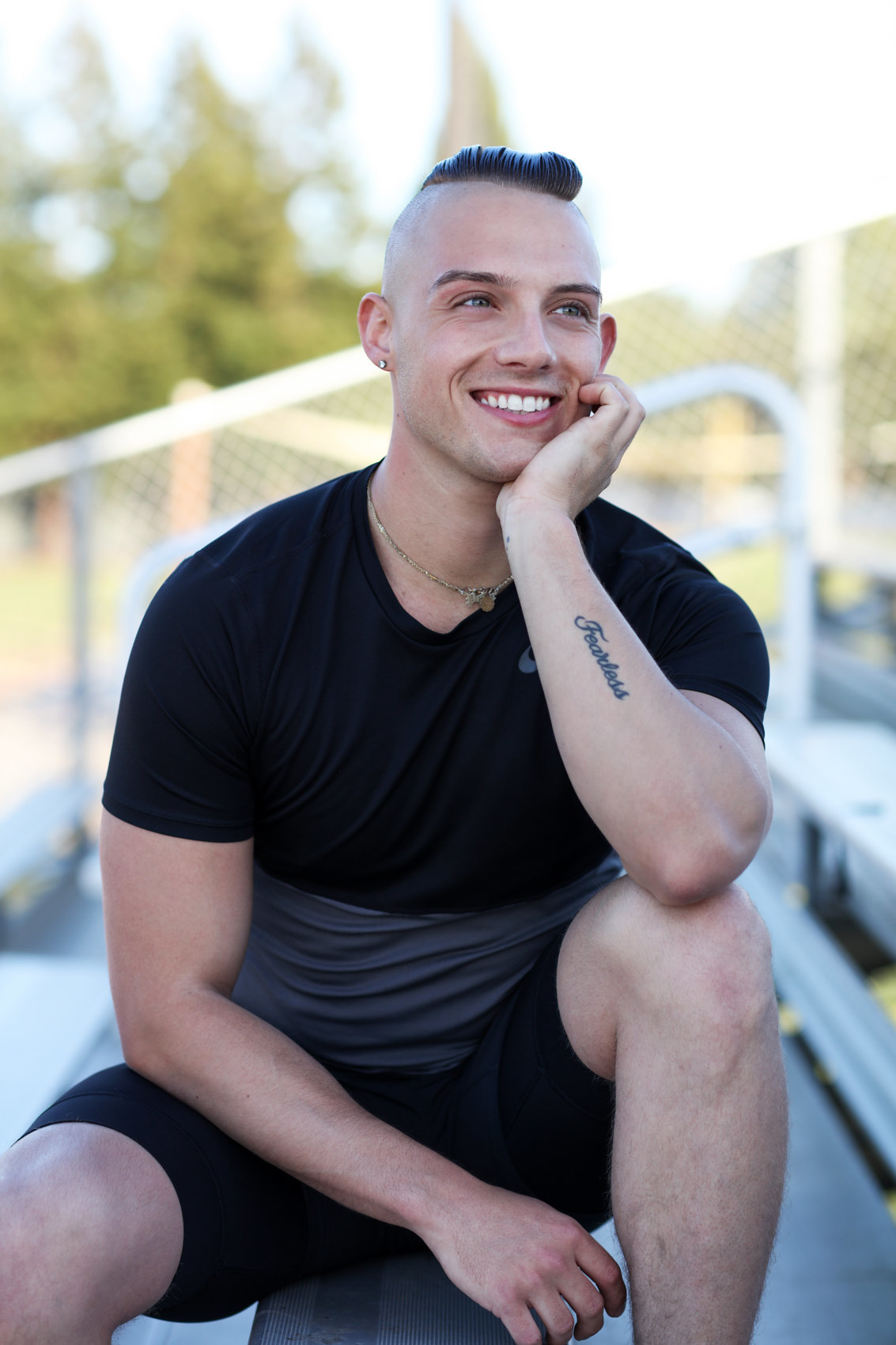 Fitness Photos on Bleachers, Personal Trainer in the Bay Area