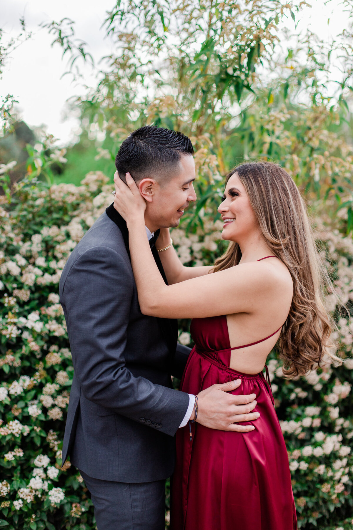 UC Riverside Botanical Gardens, Engagement Photography, Riverside Phototgrapher, Garden Engagement, Couple Photography, Red Dress-59