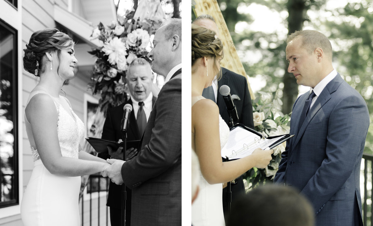 bride and groom reading vows to each other during wedding ceremony
