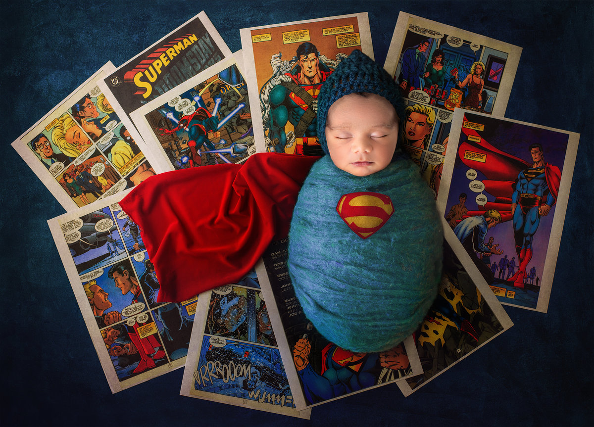 newborn baby superman themed photoshoot