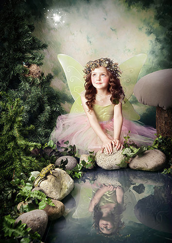 Enchantment fairy photography-girl by the pond