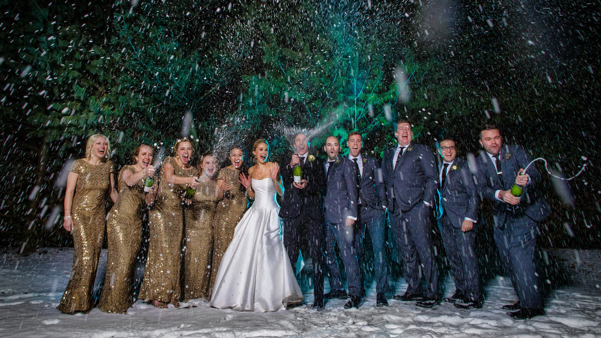 Champagne Shower at Wedding in the Winter