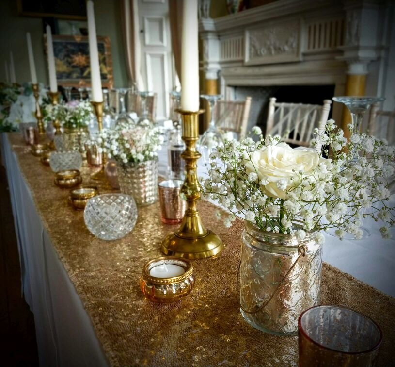 Gold candelabra sequin pearl wedding 7