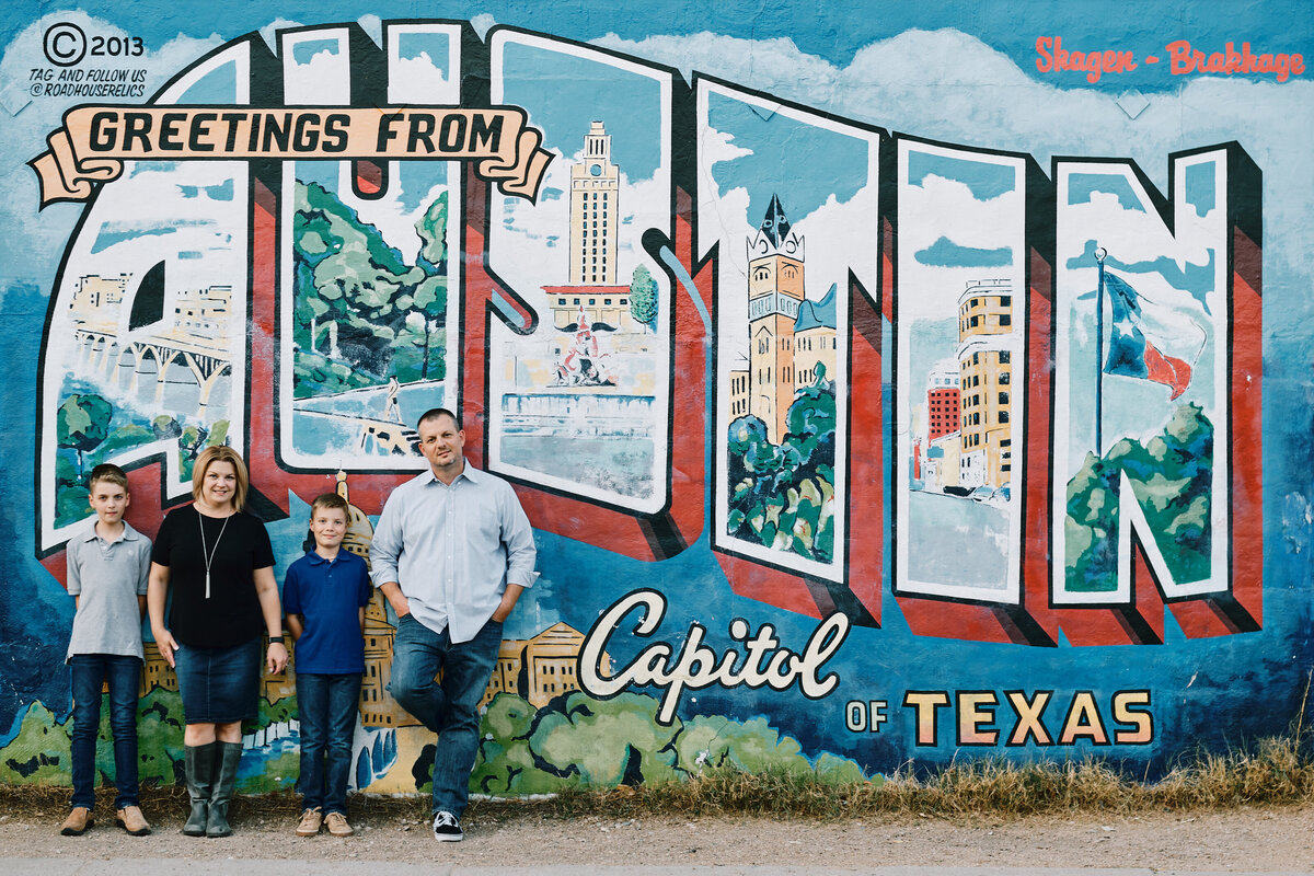 Family Portrait in front of Austin Mural