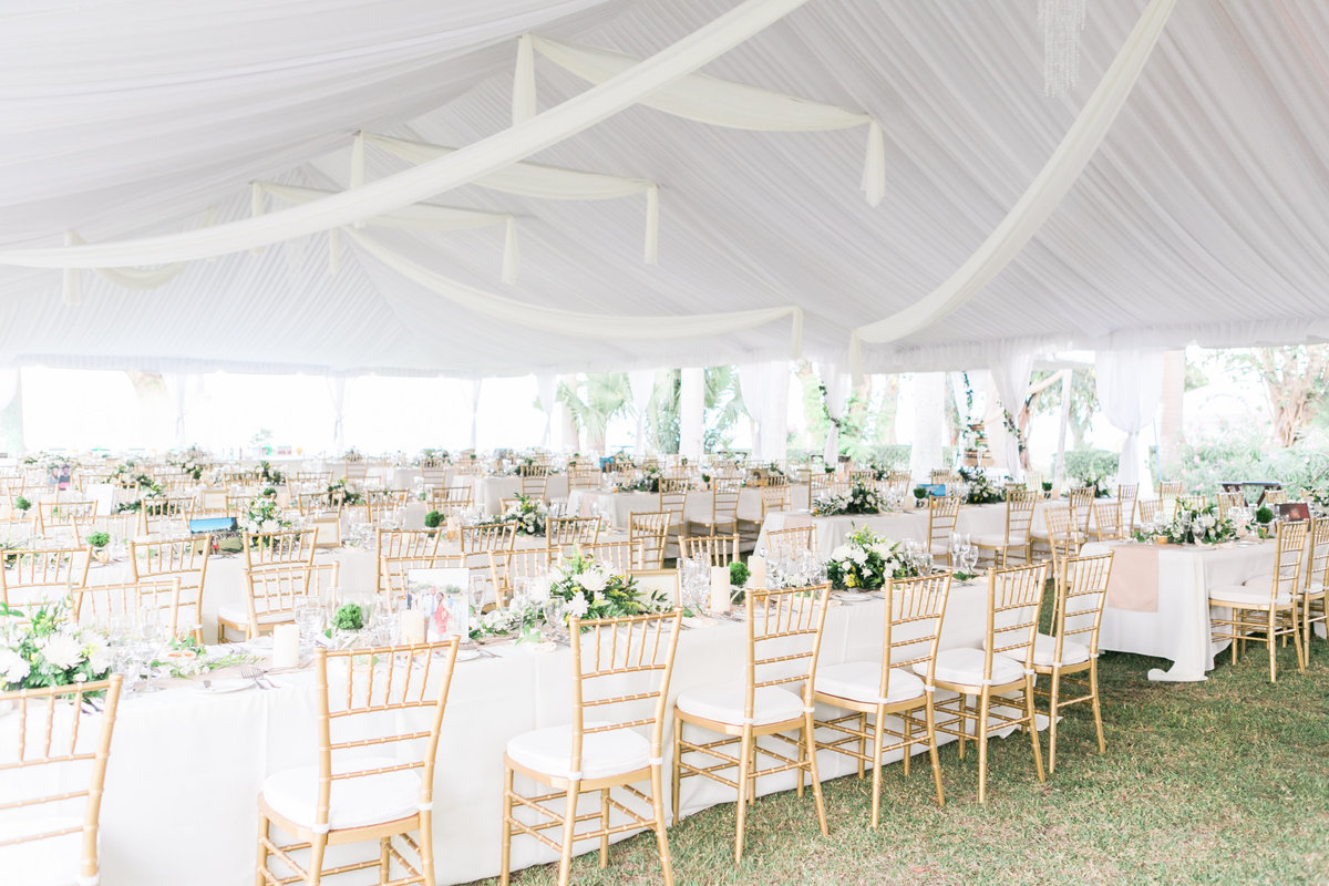 Beautiful white draped tent wedding - Barbados Codrington College