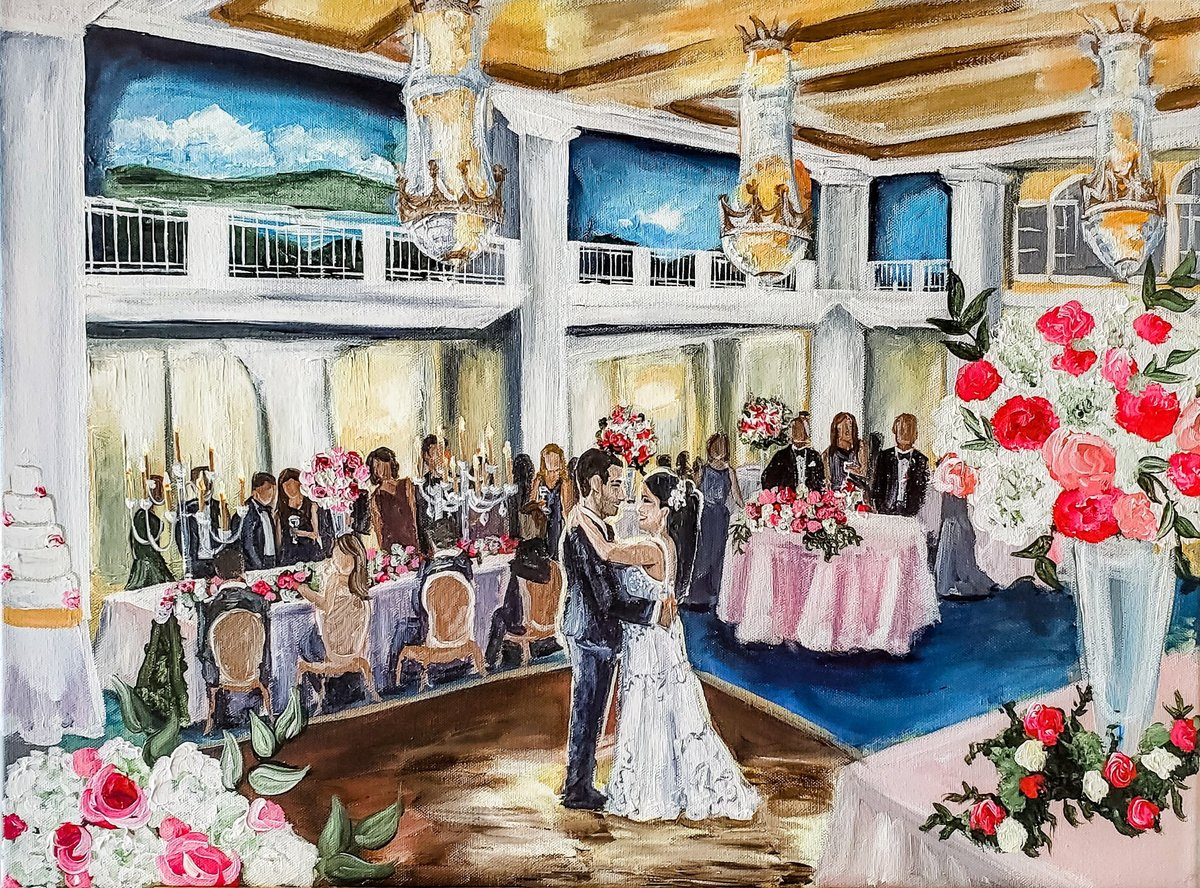Bride and groom's first dance live wedding painting at the Willard InterContinental Hotel in Washington, DC