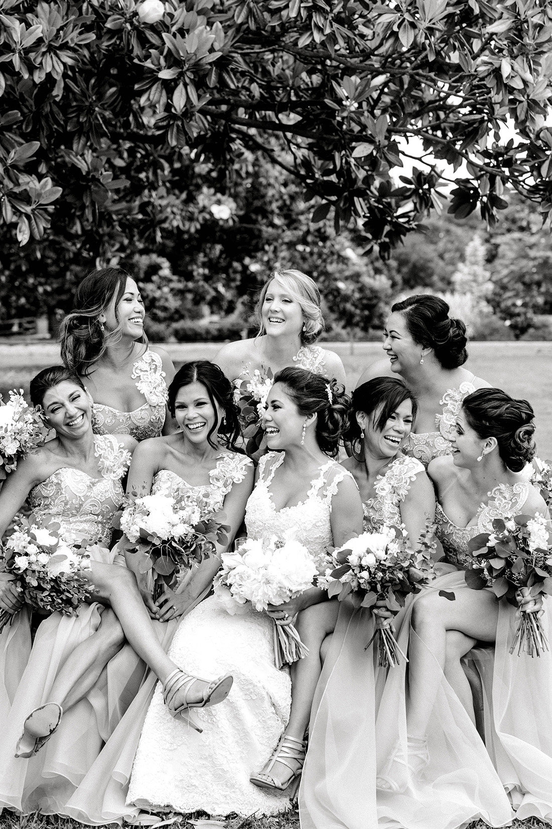 Beautiful filipino bride with bridesmaids before her Norfolk Zoo wedding