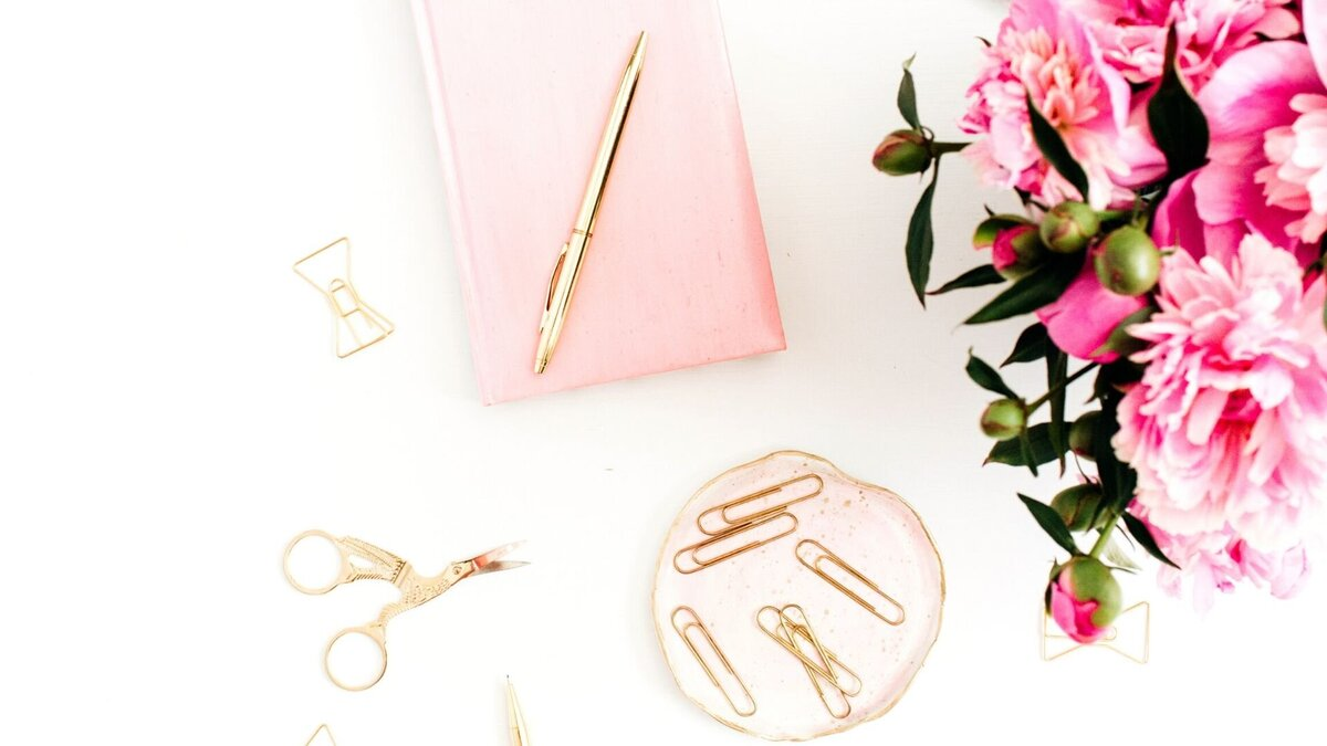 Pink desk supplies