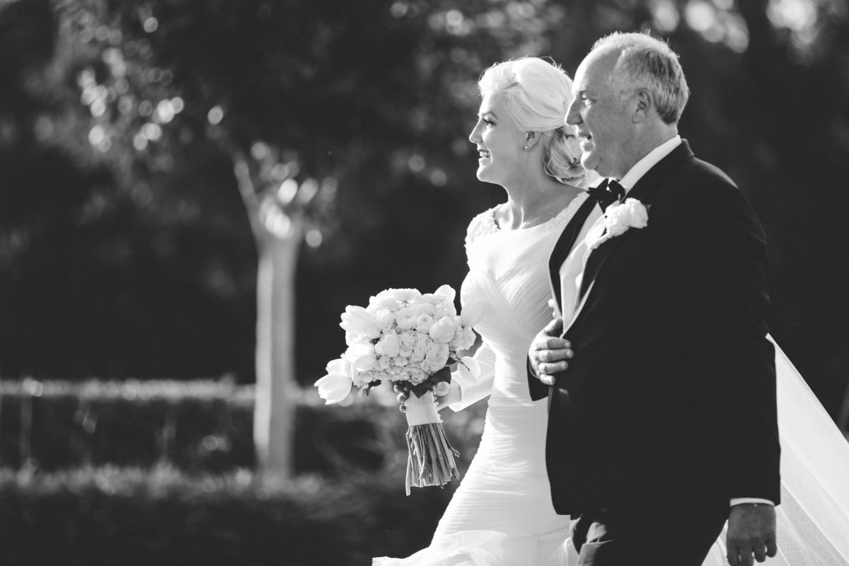 bride with her father black and white
