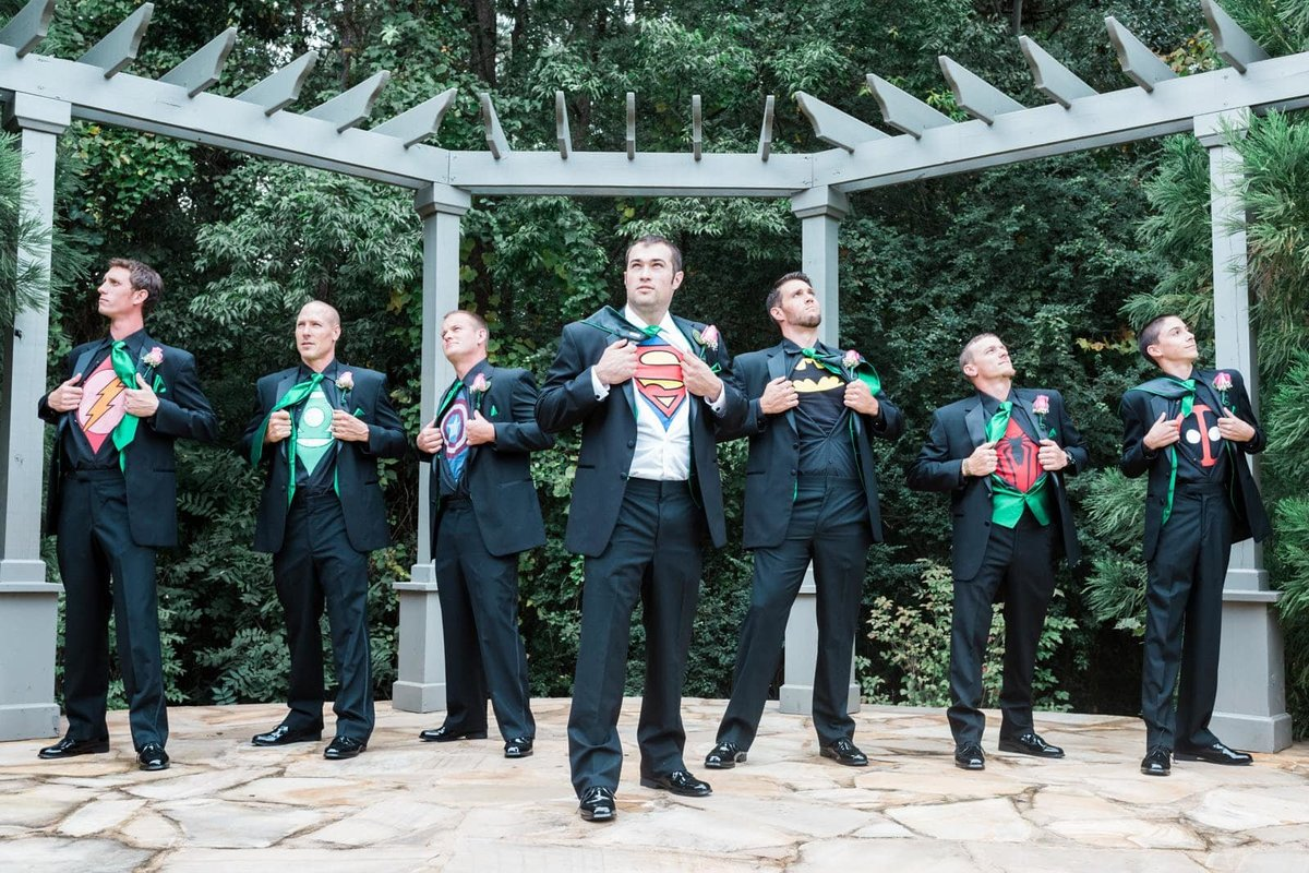 Atlanta wedding groomsmen show off superhero shirts