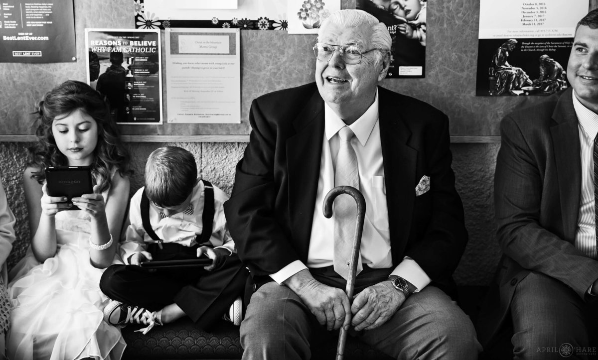 B&W Wedding Photography Candid Moment with Grandpa in Denver Colorado