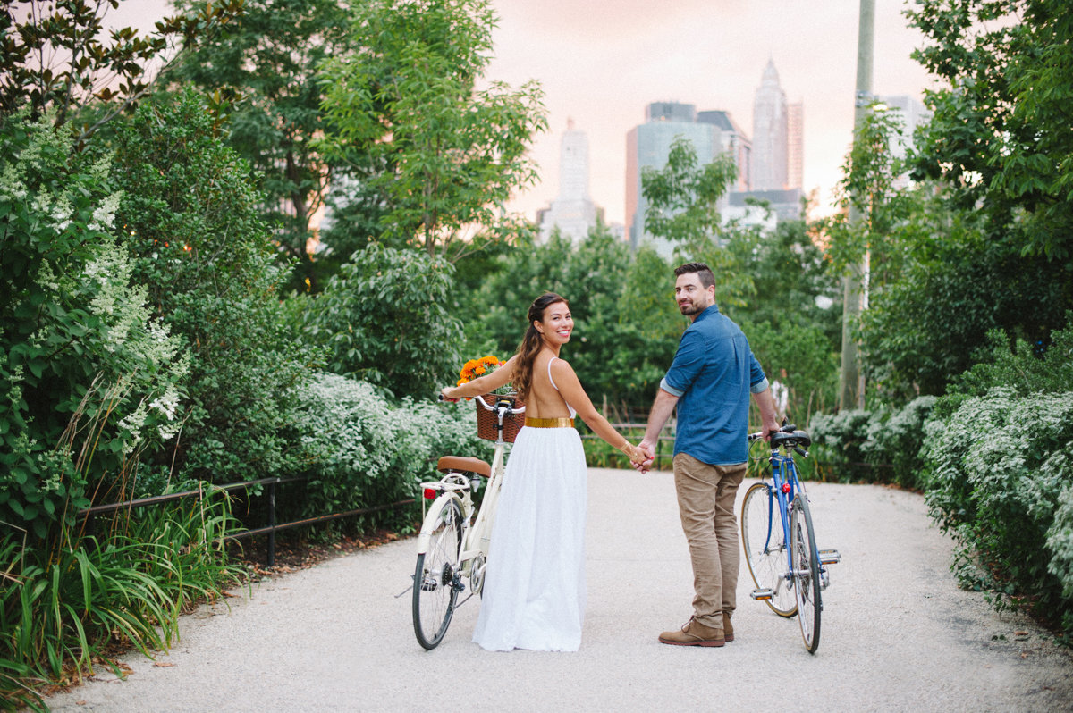 bicycle bikes couple cute engagement dumbo brooklyn nyc city wedding love happy