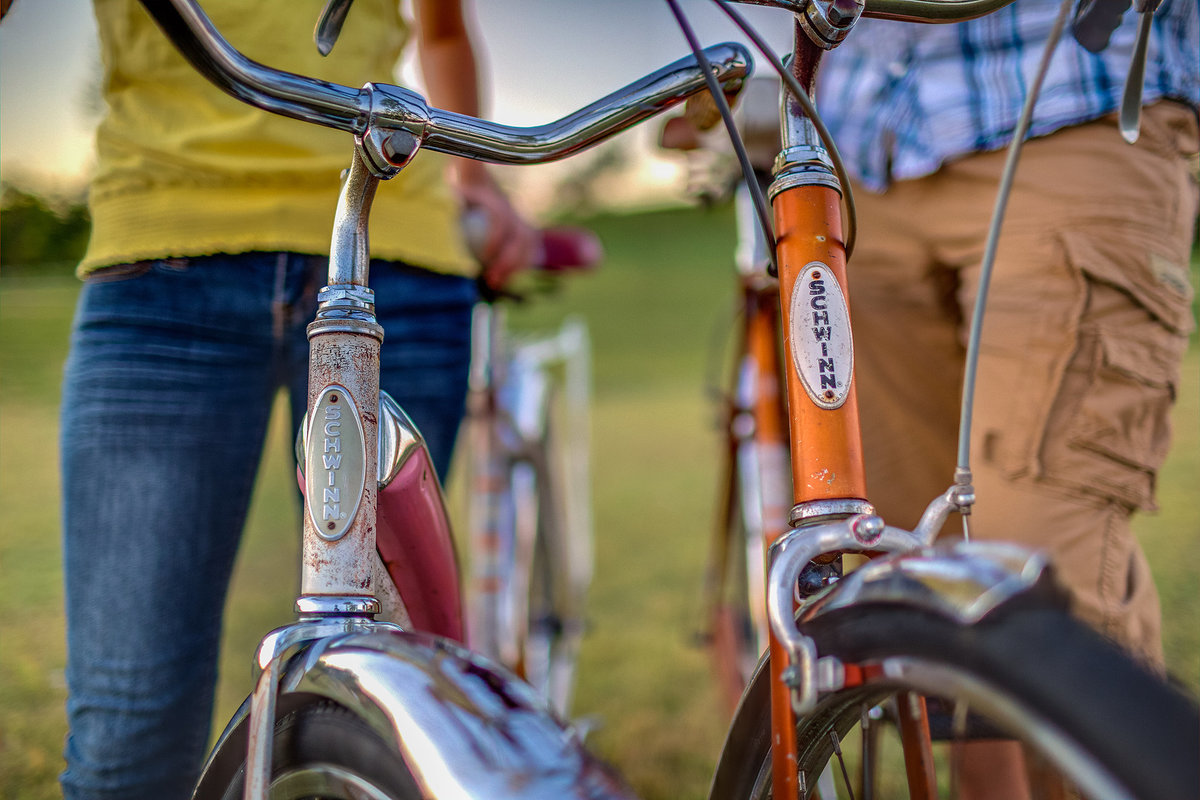 vintage schwinn bicycles used during and engagement photography session