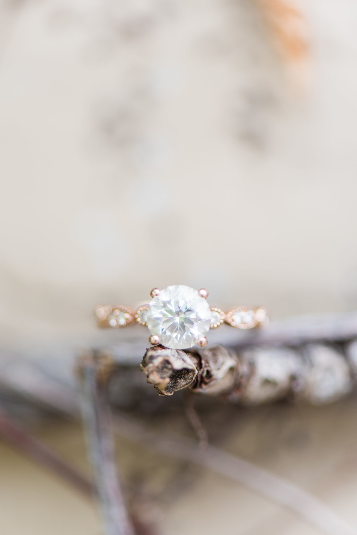 Halo Engagement Ring Details Rose Gold Ring Virginia Wedding Photographer