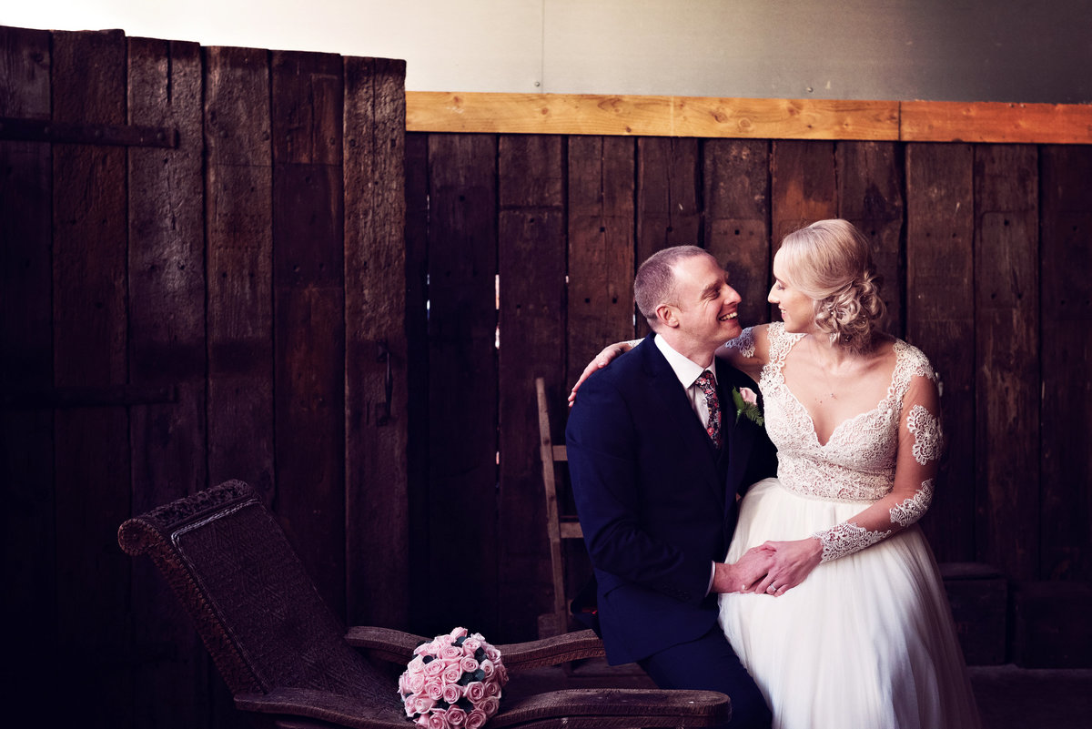 A Winter Wedding Bride and Groom at Owen House Barn
