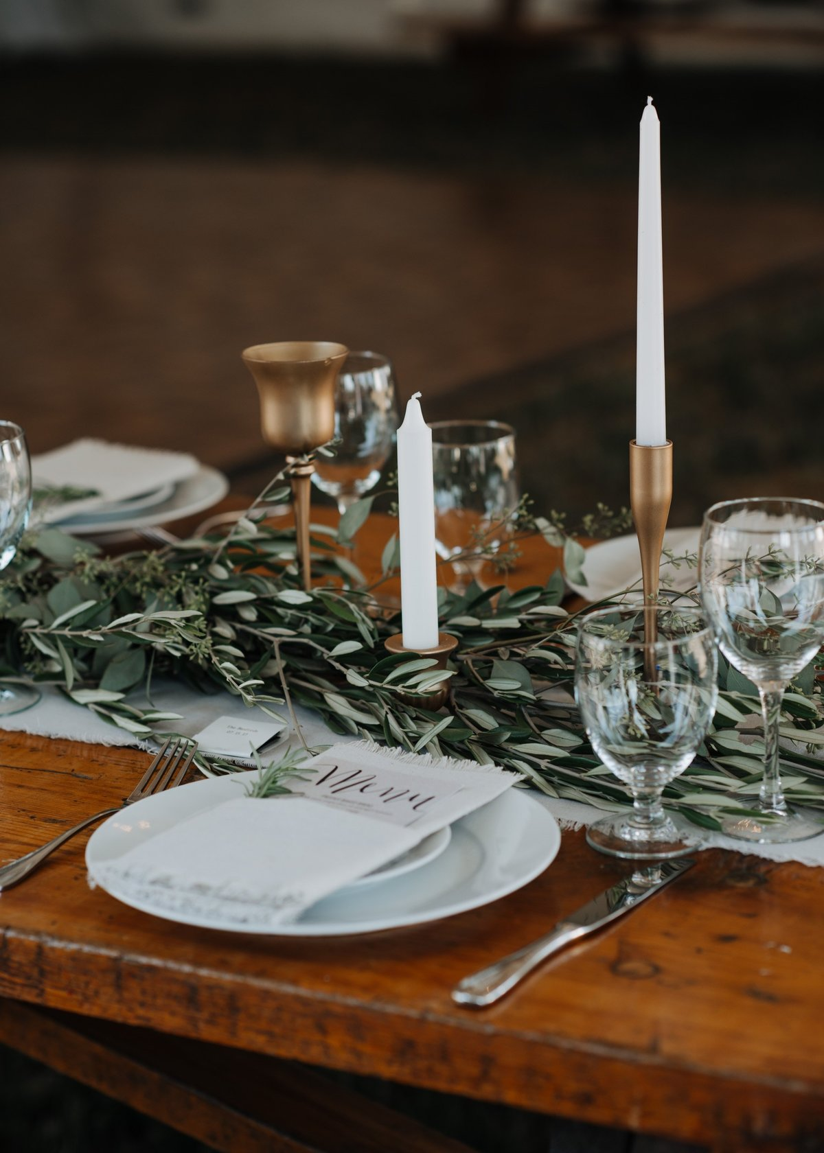 Olive foliage table garland