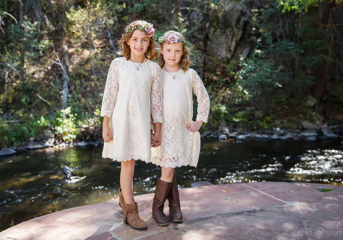 Cute rustic flower girls at Bear Creek Cabins in Evergreen