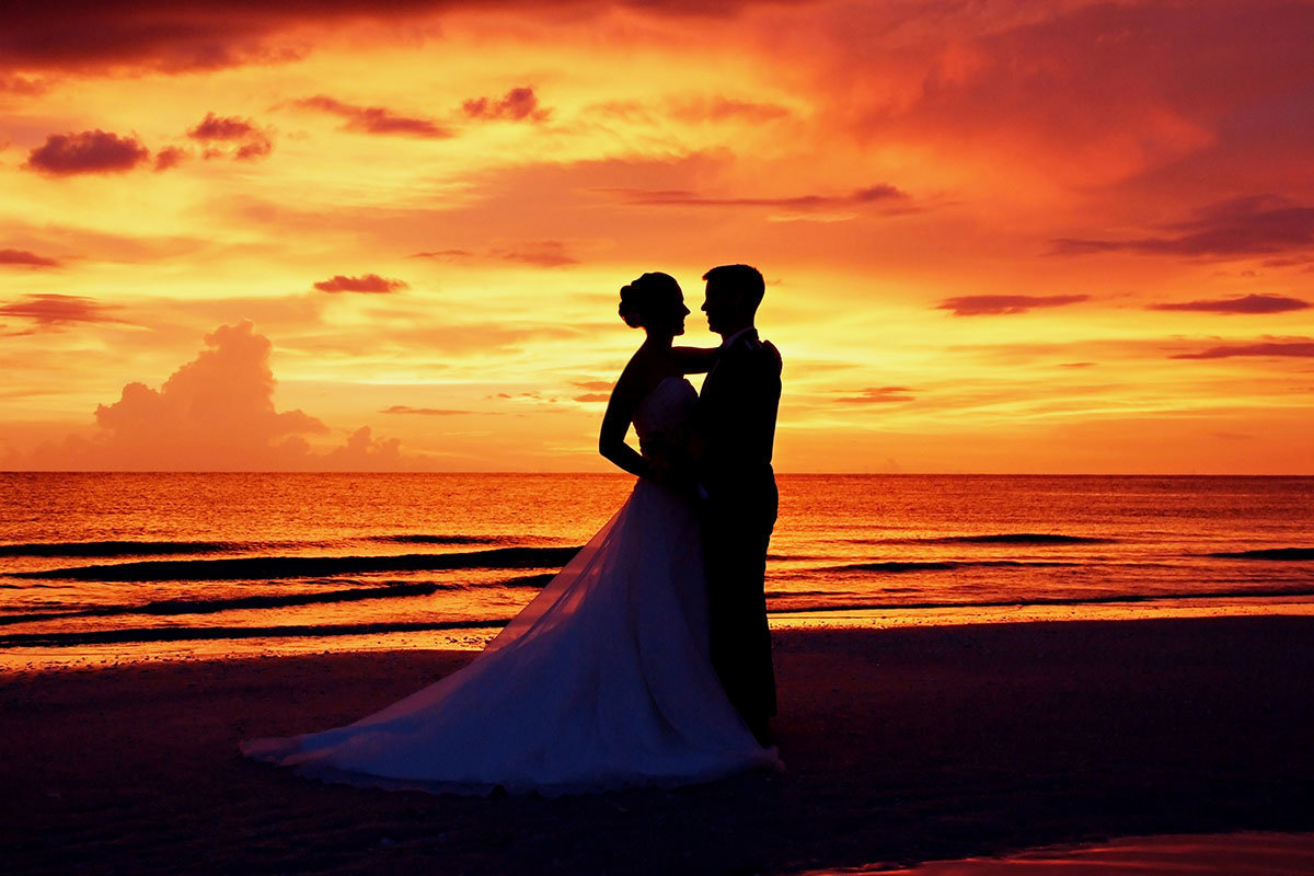 sunset wedding photo marco island florida