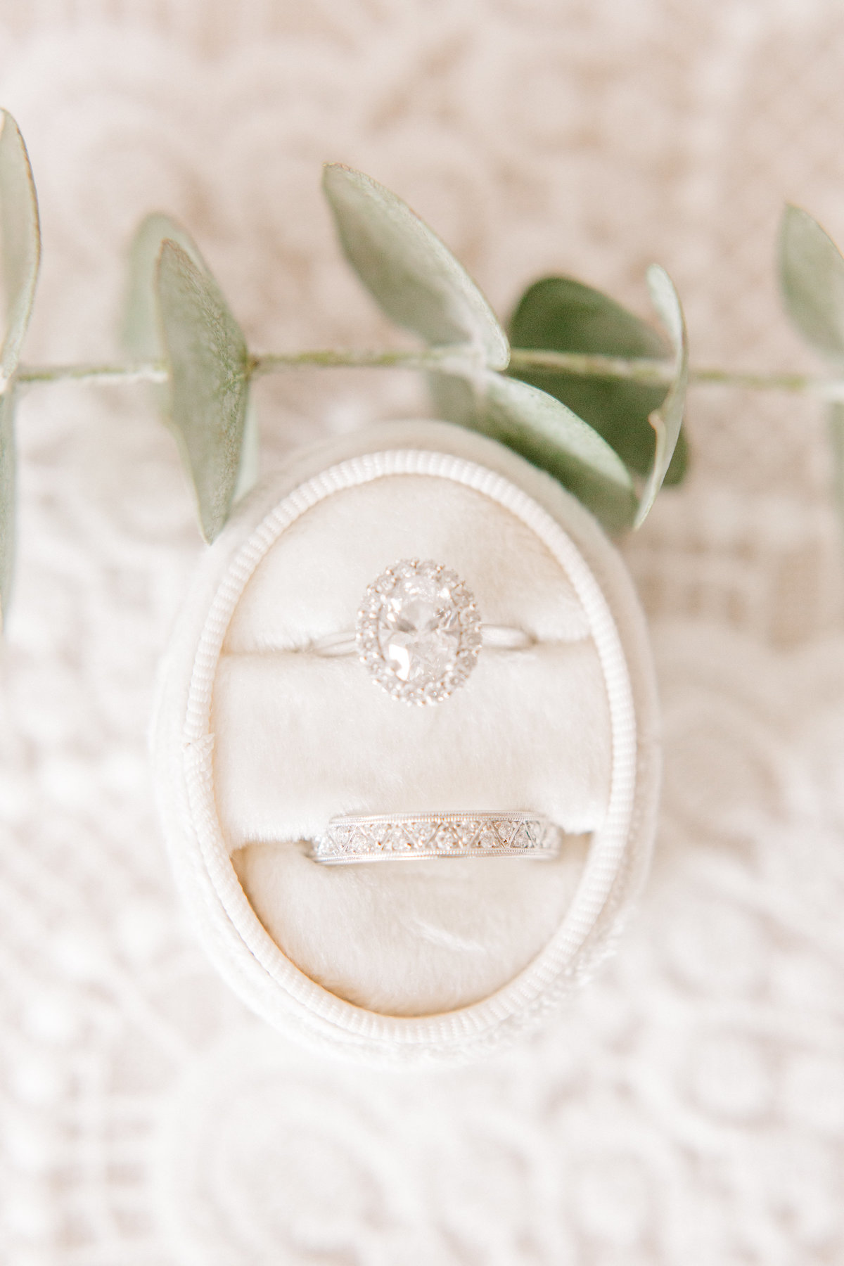 Wedding Ring Photo in Oval Velvet Ring Box Double